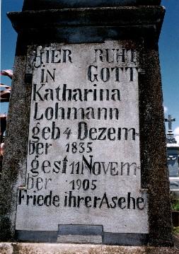 Sepultura de Katharina Balus em Novo Paraíso